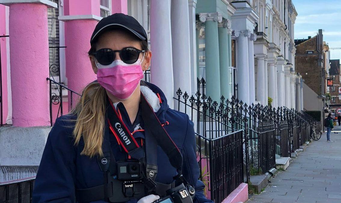 Andrea en Notting Hill, desde St. Stephen´s Gardens